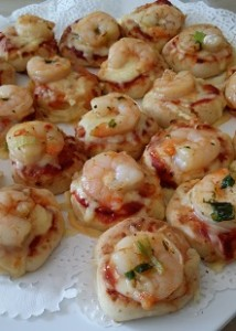 garlic prawn pizzetta