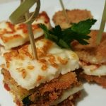 grilled haloumi and crumbed eggplant